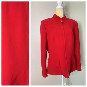 Tahari Red Dress Lined Zip Up Blazer 16